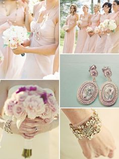 Blushing pink vintage with each bridesmaid to have a different bracelet - vintage inspired!