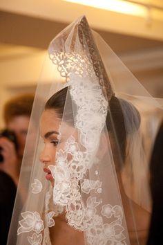 Mantillas (my fave) at Oscar De La Renta Bridal 2013 - photo by Nathan Kraxberger.