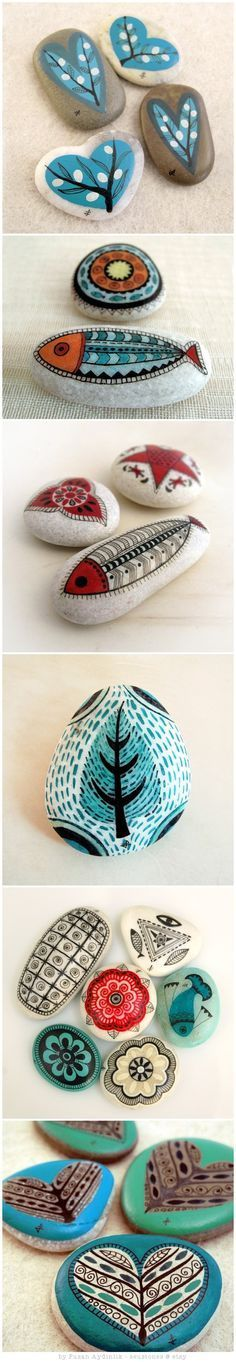 """Blue Valentine"" - handpainted stones of the north Aegean Sea by ZEUSTONES:"