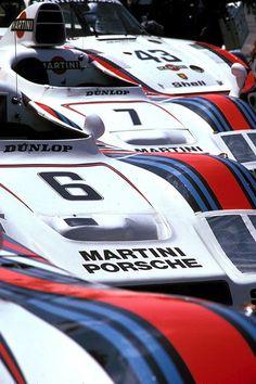 "The 1978 Martini Racing Porsche Le Mans Armada.  936/78 - Ickx/Pescarolo.  936/78 - Wollek/Barth.  936/77 - Haywood/Gregg/Joest.  935/78 ""Moby Dick"" - Schurti/Stommelen."
