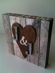 couples sign with wedding date on top.I think it would look cute with date under heart or along side