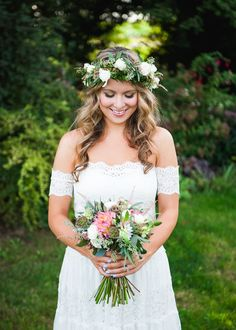 A bohemian beauty. Photography: BAKEPHOTOGRAPHY - www.bakephotography.com/  Read More: http://www.stylemepretty.com/canada-weddings/2014/05/27/vintage-meets-rustic-barn-wedding/