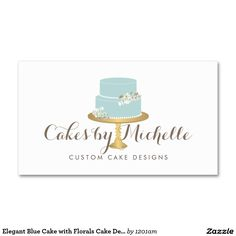 Elegant Blue Cake With Florals Decorating Business Card