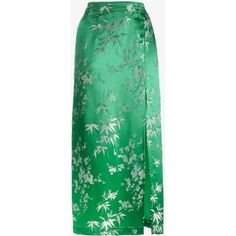 Attico Silk Jacquard Floral Print Mid Length Skirt (£530) ❤ liked on Polyvore featuring skirts, attico, green, jacquard skirts, silk skirt, floral printed skirt, flower print skirt and floral jacquard skirt