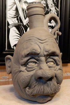 Mustache Man Jug- WIP by thebigduluth on DeviantArt Ceramics Projects, Clay Projects, Sculpture Clay, Sculptures, Face Jugs, Clay Mugs, Cement Crafts, Paperclay, Clay Art