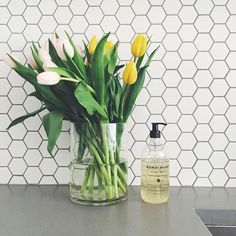 White hexagon kitchen tiles