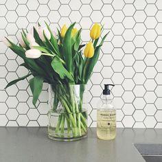 White hexagon kitchen tiles back splash idea