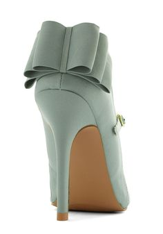 Mint Bow Back Heels