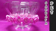 Vaso de garrafa pet - Centro de mesa, lembrancinha - Reciclagem de garra...