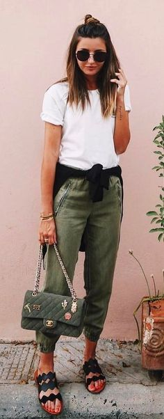 #summer #outfits  White Tee + Khaki Pants + Khaki Quilted Shoulder Bag 🌿