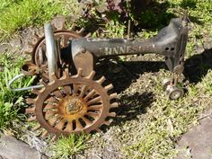 Garden tractor made of an old sewing machine.