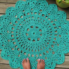 Turquoise Patio Porch Cord Crochet Rug