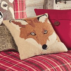 In the Woods Fox Hooked Pillow