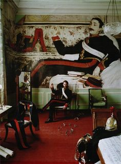 """The Terrier and Lobster: """"Blow-Up"""": Tim Walker Projects 18th- and 19th-Century Society Portraits onto the Walls of Glemham Hall for W"""