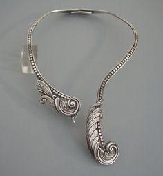 Vintage Mexican Necklace and Bracelet Set Sterling-Modernist Organic Design-1970/'s