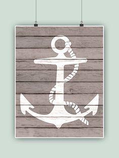 Nautical art anchor art faux bois barn wood beach by PrintCorner