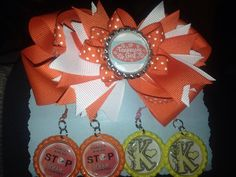 """Personalized """"Vols"""" bow and matching earrings"""