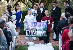 This Is What A Football-Themed Wedding Looks Like Football Wedding, Sports Wedding, Candid Wedding Photos, Wedding Pics, Wedding Stuff, Wedding Ideas, Wedding Things, Wedding Planning, Wedding Photography And Videography