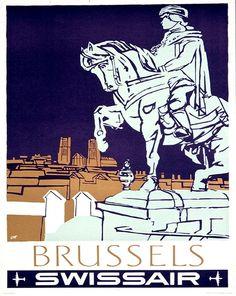 Brussels Art Retro Poster Art Belgium Travel by Blivingstons