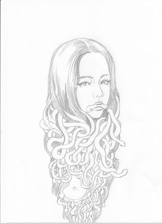 snake hair girl pencil on paper  210x297 mm    피규어 드로잉 figure drawing