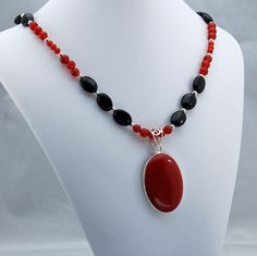 Carnelian and Onyx Pendant Necklace, Stone Pendant Necklace, Statement Necklace, February Birthstone, July Birthstone