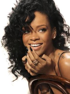 Rihanna Fire  - Curly Synthetic Lace Front Wig - Jet Black$129.99