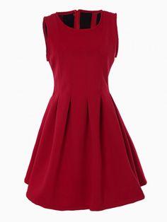 Red Sleeveless Pouf Dress - Choies.com