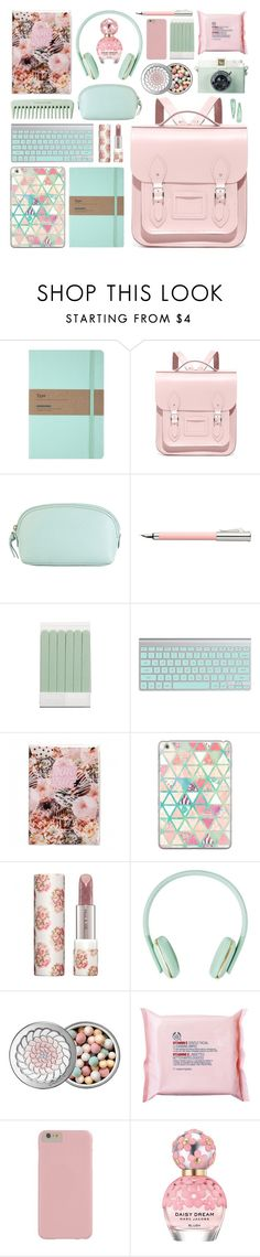 """""""rule school // cambridge satchel backpack"""" by rosemarykate ❤ liked on Polyvore featuring The Cambridge Satchel Company, Hadaki, Faber-Castell, The Body Shop, Casetify, Paul & Joe, Guerlain, Marc Jacobs, backpacks and contestentry"""