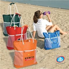 LT-3407 Seaside Tote. Zippered front pocket, mesh side pockets and inside zippered safety pouch. Rope handles with padded grips.  Cool business gifts custom printed with your logo on hot products! Visit www.abetteridea.com to browse the most unique promo items, corporate gifts, engraved awards & trade show ideas or call 401-841-5646 for creative ideas!