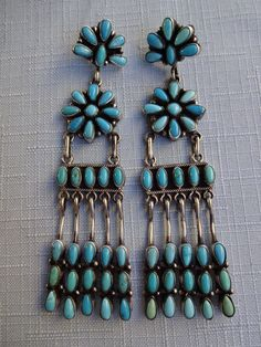 "Emma Lincoln NAVAJO Sterling Silver & Turquoise Chandelier EARRINGS, 3.5"" Long"