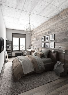 The bedroom features a bit of variation. It maintains a similar style as the living space but emphases the rustic elements over the modern. Metal features and geometric decor don't lose sight of the home's underlying industrial theme.