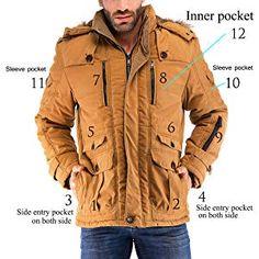 10b57823f555 Amazon.com  Yozai Mens Winter Military Warm Jacket Fleece Coat with  Detachable Fur Hood