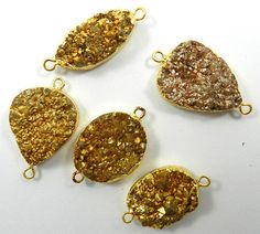 20.20Gm Wholesale lot 5 Pcs Coated Golden Druzy Brass charming connector jewelry #MagicalCollection #Connectors