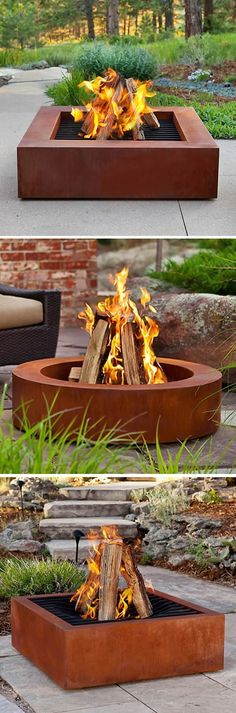 Heavy Duty Cor-Ten Steel Fire Pits➕Fire Pits ➕More Pins Like This At FOSTERGINGER @ Pinterest ➕