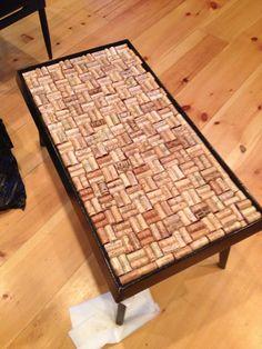 custom made wine cork glass top coffee table (ethan allen)