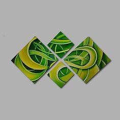 【今だけ送料無料】現代アートなモダン キャンバスアート 絵 壁 壁掛け 油絵の特大抽象画4枚で1セット 抽象画 グリーン 生命 植物 黄色【納期】お取り寄せ2~3週間前後で発送予定