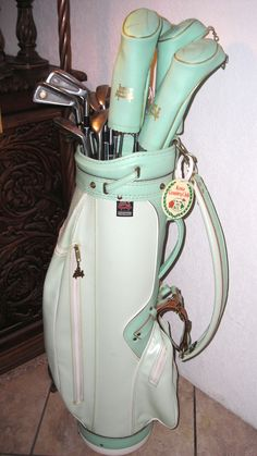 Find it at The Treehouse One of a kind. Vintage Mint Green Ladies Golf Bag and clubs $279.00