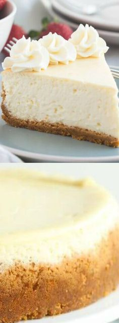 The Best Vanilla Cheesecake recipe from The Recipe Rebel is super creamy and not as heavy as traditional baked cheesecake thanks to a good dose of sour cream or Greek yogurt!