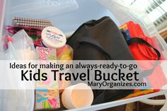 Ideas for making an always-ready-to-go Kids Travel Bucket. I had never thought to do this, but I really like it! My favorite idea is probably the notebook and the little container full of drawing ideas.