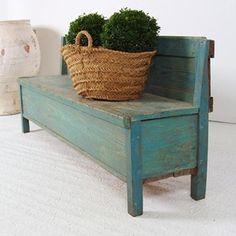 Original Antique Blue Painted Box Bench - Decorative Collective
