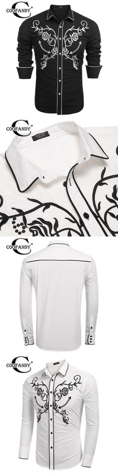 COOFANDY New Arrivals Fashionable Shirts for Men Slim Fit Long Sleeve Embroidery Button Down Casual Shirts