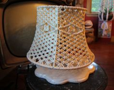 Sale!  Vintage Handmade Macrame Awesome Hippie Lamp Shade!