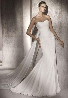 Trumpet/Mermaid Sweet Heart Chiffon Chapel Train Wedding Dress (WGH502084)