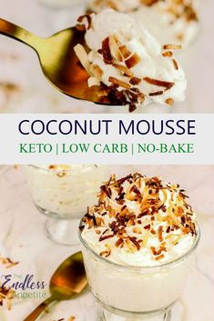 A perfect no-bake dessert! This coconut mousse is ready in about 10 minutes and is carbohydrate and ketoarm! Even better, because you can do it! A perfect no-bake dessert! This coconut mousse is ready in about 10 minutes and is carbohydrate and ketoarm! Desserts Keto, Health Desserts, Keto Snacks, No Bake Desserts, Italian Desserts, Homemade Desserts, Health Foods, Summer Desserts, Easy Desserts