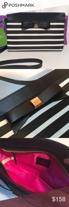 "Kate Spade Black Bow Crossbody New with tags and still in manufacturers packaging. Soooo adorable!  Black/ivory striped. Stiff twill fabric exterior with hot pink satin signature interior.  Zip top closure, interior zipper pocket and 1 slide pocket. Gold embossed Kate logo on the bow. Leather and gold chain shoulder strap. Measures 9.5"" x 6.5"". Strap length is 48"" long. No trades. kate spade Bags Crossbody Bags"