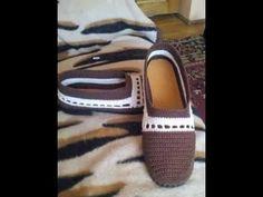 Zapato para estar en la casa tejido a crochet faciles - YouTube