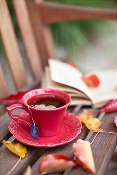 Red tea cup and saucer Coffee Time, Tea Time, Chocolate Cafe, Autumn Tea, Early Autumn, Hello Autumn, Pause Café, Cuppa Tea, My Cup Of Tea