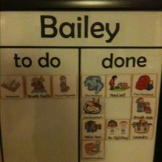 To Do chart. Magnetic white board, vinyl lettering cut on my gazelle, and wooden tiles with magnets glued on back that I modge podged free clip art onto. The pictures make it easy for even my toddlers to know what to do.