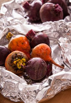 Colorful Beets in Foil, Ready to Roast. I added a little dry rose. My beets were SO large I cooked them for 90 min, if I didn't have other things in the oven I would have turned it up to 425.