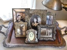 decorating with silver vintage trays | display old photos on an antique silver tray